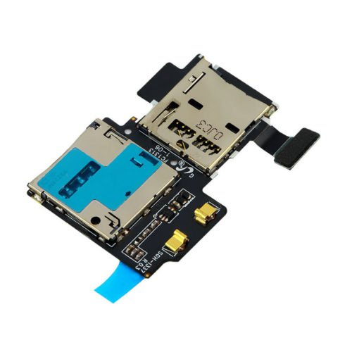 Alicenter(TM) Micro SD Card Reader SIM Tray Holder Flex Cable for Samsung Galaxy S4 i9505 #E