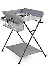 Vikbart skötbord platsbesparande skötbord med 3 fack skötstation i Oxford-tyg andningsbart, max upp till 15 kg för spädbarn upp till 12 månader, grå