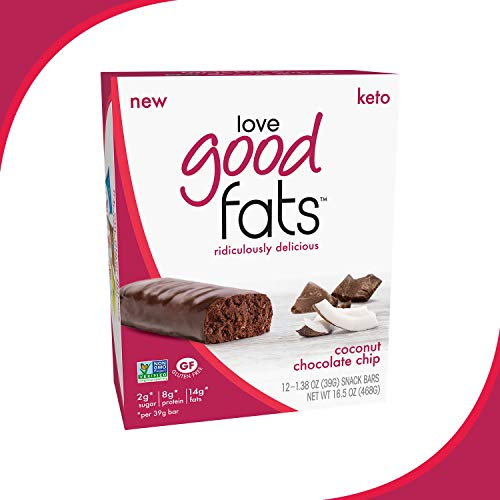 Love Good Fats Bars – Coconut Chocolate Chip – Keto-Friendly Protein Bar with Natural Ingredients – Low Sugar, Low Carb, Non GMO, Gluten & Soy Free Snacks for Ketogenic Diets – (12 Count) 2