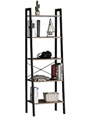 Moustache® Ladder Shelf, 5-Tier Rustic Standing Bookshelf with Stable Metal Frame, Wood Industrial Ladder Plant Shelf Display for Home Office