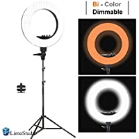 LimoStudio LED 18 Ring Flash Light Dimmable SMD LED Lighting Kit 5500K Photography Photo Studio Light Stands, AGG1775