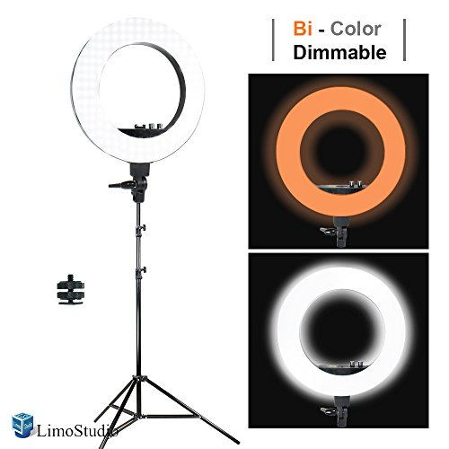 LimoStudio LED 18″ Ring Flash Light Dimmable SMD LED Lighting Kit 5500K Photography Photo Studio Light Stands, AGG1775