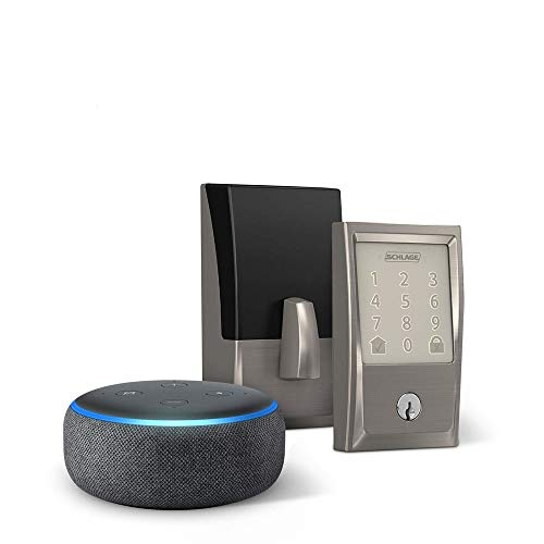 Encode Smart Wifi Deadbolt with Century Trim In Satin Nickel Echo Dot (3rd Gen) Charcoal