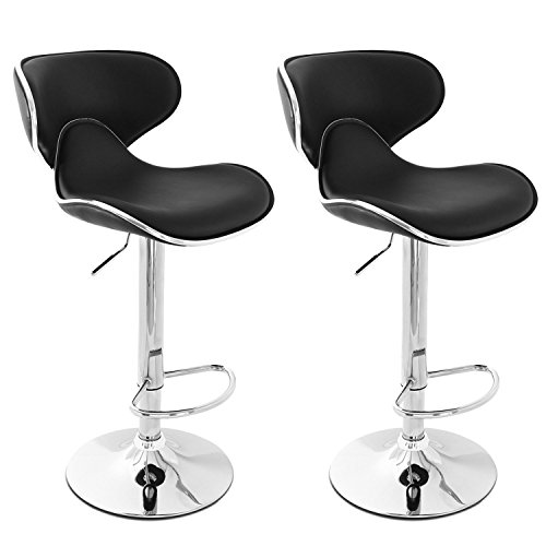 Belleze Modern Adjustable Faux Leather Swivel Bar Stools Chairs-Sets of 2, Black (Breakfast Chairs)
