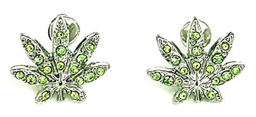 GWOOD Earrings Weed Leaf Iced Out Silver with Green Color Rhinestones (Weed Earrings)