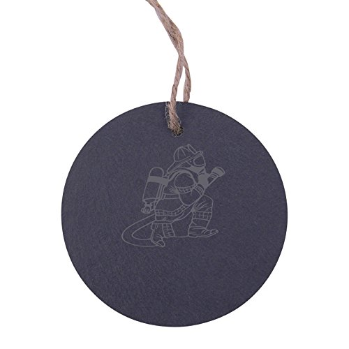 Personalized Custom Fire Fighter, Fireman 3.125-inch Circle Slate Hanging Christmas Tree Ornament