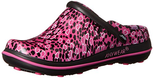 AnyWear Women's Alexis Work Shoe, Pink Not Heart to Find Print, 8 M US by Anywear