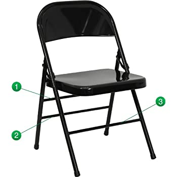 Flash Furniture Hercules Series Triple Braced U0026 Double Hinged Black Metal Folding  Chair
