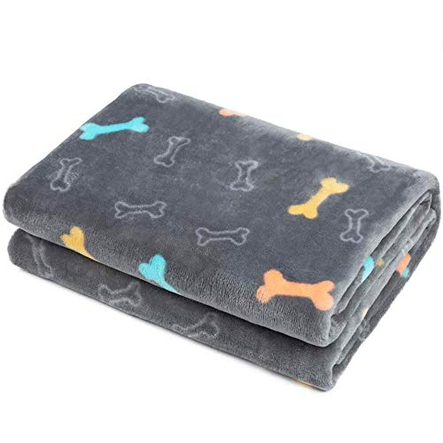 Allisandro Fluffy Pet Dog Blanket - Machine Washable - Durable and Quilted Plush Puppy Cat Blanket - Soft and Warm Flannel Fleece Blanket - Suit for Small Medium Large Pets, Grey 59x39