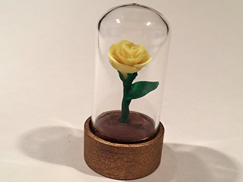 Beauty and the Beast Rose, Tiny Yellow rose in a glass dome, Enchanted Rose