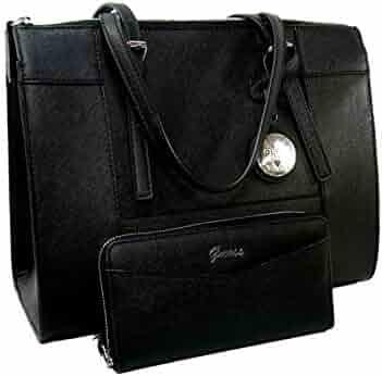d82c81996 New Guess Logo Purse Large Satchel Hand Bag & Wallet Set 2 Piece Black  Silver