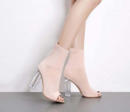 Chunkly Fabric Hollow Shoes Color Court Peep 40 Shoes 10 Dress Boots Elastic OL Cool Eu Party Fashion Pure Women Size Shoes 34 Toe Beige Pump Transparent Heel 5cm qZIIRx