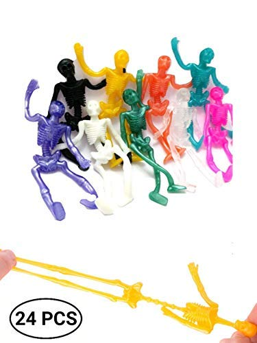 UpBrands 24 Pack Stretchy Skeleton 4 inches Bulk Set 9 Glitter Colors, Kit for Birthday, Halloween Party Favors for Kids, Goodie Bags, Easter Egg Basket, Pinata Filler, Small Toys Classroom -