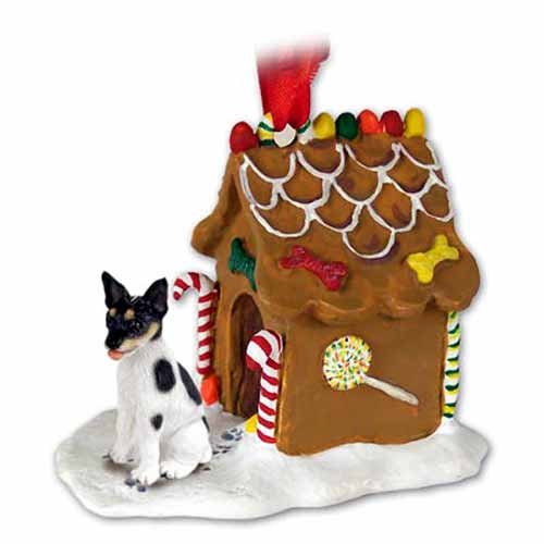 Rat Terrier Gingerbread House Christmas Ornament New