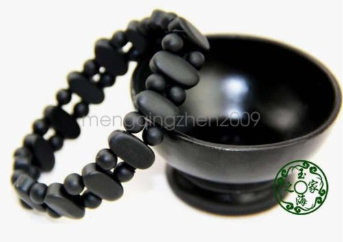 Authentic natural black stone double row oval jade bracelet health man gift ()