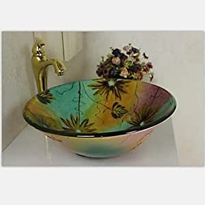 dudu Flower Round Tempered Glass Vessel Sink With Faucet ,Mounting Ring and Water Drain