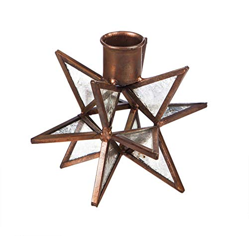 (Evergreen Moravian Star Metal Taper Holder, Set of 2, Glass)