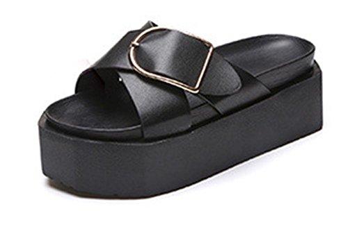 Personalidad Zapatillas La Salvajes Planas Mujeres Deslizadores Las Mollete Del De Corteza Verano Y Sandalias Black Gruesa Femenina Los Palabra Zapatos BwAqTBr