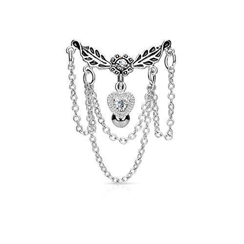 Pierced Owl Leaflet Chandelier Chained Heart Top Down Dangle Belly Button Ring 316L Surgical Steel 14g Navel ()