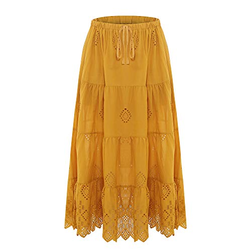 Love Welove Fashion Women's Solid Cotton Embroidered Tiered Flare A-line Ankle Length with Lining Maxi Skirt (M, Mustard)