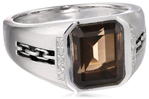 Men's Sterling Silver Octagon Smoky Quartz and Diamond Ring (0.08 cttw, I-J Color, I2-I3 Clarity), Size (Mens Rings Size 10 Diamond)