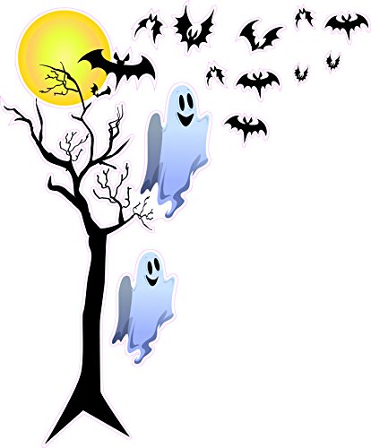 Nostalgia Decals Halloween Bats and Ghosts with a Full Moon Large Window or Wall Decor 48