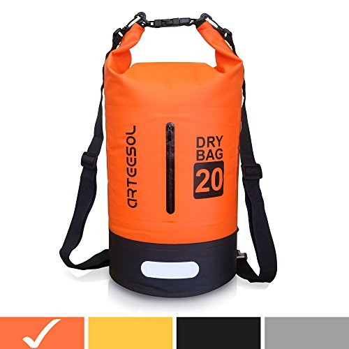 Arteesol Waterproof Bag 5L/10L/20L/30L Dry Bag Rucksack with Double Shoulder Strap Backpack for Swimming Kayaking Boating Fishing Traveling Cycling Beach [4 Colors] (Orange, 30L) by Arteesol
