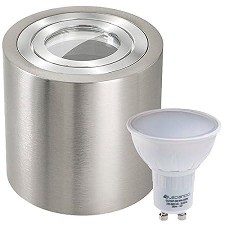 3er IP44 LED Aufbaustrahler Set Silber gebürstet mit LED GU10 Markenstrahler von LEDANDO - 5W - warmweiss - 120° Abstrahlwinkel - Feuchtraum / Badezimmer - 35W Ersatz - LED Spot 5 Watt - Aufbauleuchte Zylinder