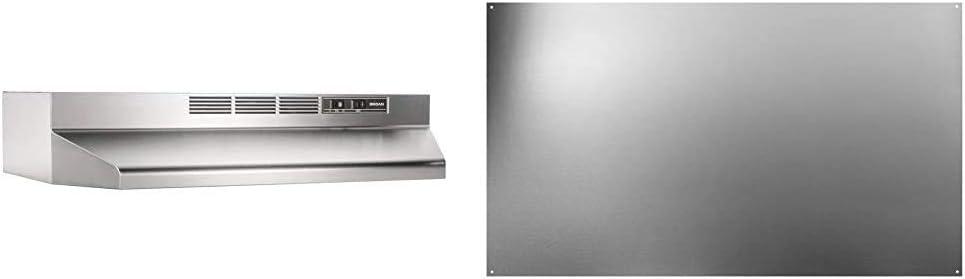 Broan-NuTone 413004 Stainless Steel Ductless Range Hood Insert, 30-Inch & SP3004 Reversible Stainless Steel Backsplash Range Hood Wall Shield for Kitchen, 24 by 30-Inch