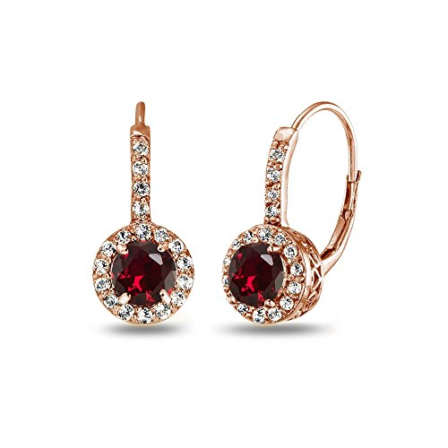 Rose Gold Flashed Sterling Silver Created Ruby & White Topaz Round Dainty Halo Leverback Earrings ()