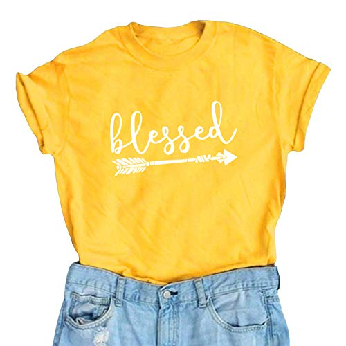 Blessed Thankful T-Shirt Women Cute Graphic Printed Shirt Funny Thanksgiving Christian Fall Tees - Christian Adult T-shirt Inspirational