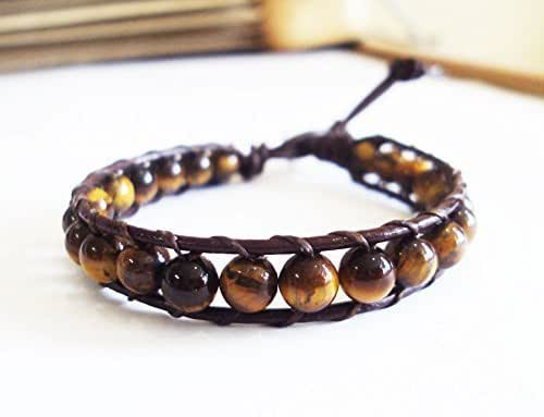 Personalize by having it custom branded Mens or Womens Leather Cuff Wrap Turquoise /& Tiger Eye Stones Leather Sterling Bracelet