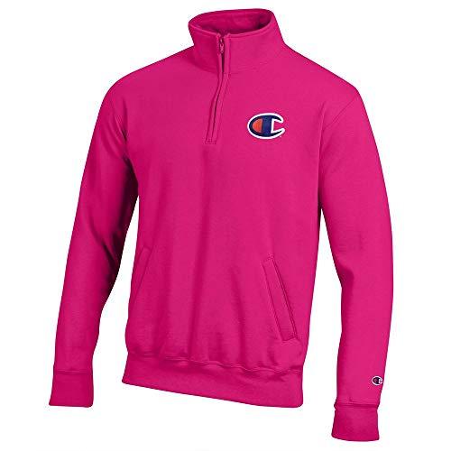 (Champion Men's (Knockout Pink) Powerblend Sweats 1/4 Zip Pullover Fleece)