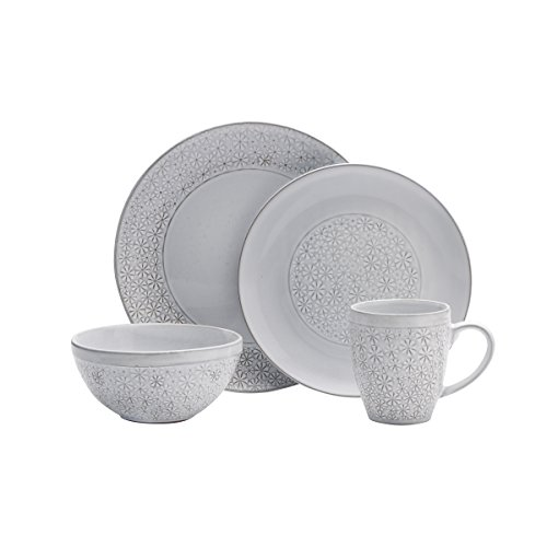Pfaltzgraff 5237550 Blossom White 16-Piece Porcelain Dinnerware Set, Service for 4, Distressed
