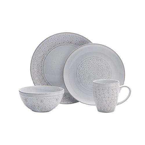 Pfaltzgraff 5237550 Blossom White 16-Piece Porcelain Dinnerware Set, Service for 4, Distressed