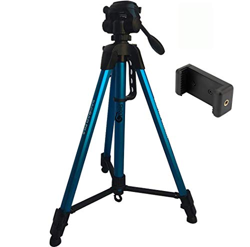 Eloies® Tripod for Mobile and Camera Jaguar Series Alluminum Made 3 Way Pan Head Photo Video Tripod Heavy Duty Tripod Stand Mobile Stand Max Height 5.5 Foot Free Mobile Holder (Blue)