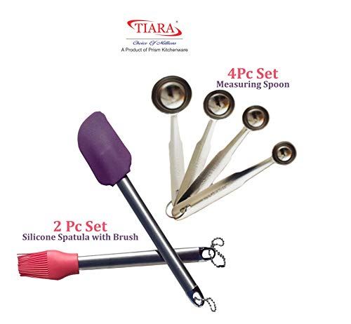 TIARA – 1pc Silicone Spatula, 1pc Pastry Oil Brush with Steel Handle and 4pc Measuring Spoon Steel Price & Reviews