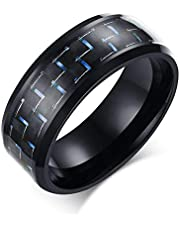Ring for Unisex With Blue lines, Black, Size 9, RS024