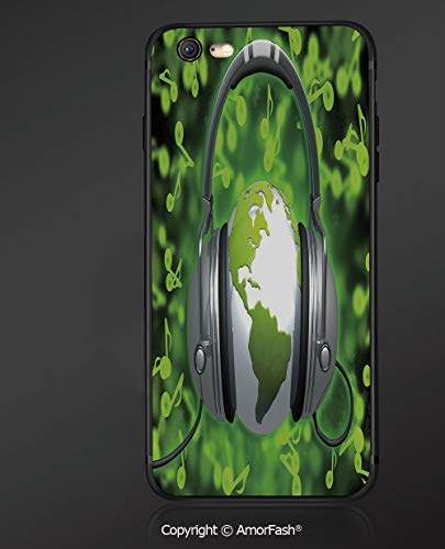 Customized iPhone 6 Case   iPhone 6S Case   Shockproof,Lightweight,Scratch Resistant,World,World of Music Themed Composition DJ Musical Notes and Earth Globe Decorative,Lime Green Grey