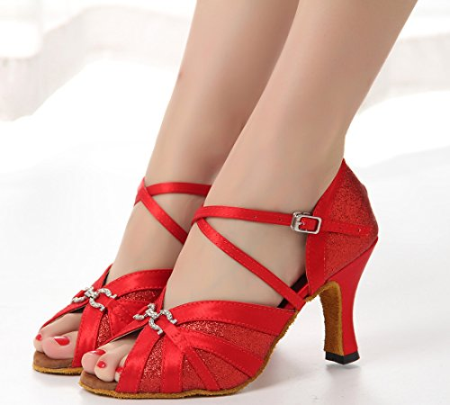 Rumba 8 Satin Wedding Samba M US Women's Modern Buckle Dance Red Ankle Tango Salsa Strap Shoes Latin TDA qZXzwf8