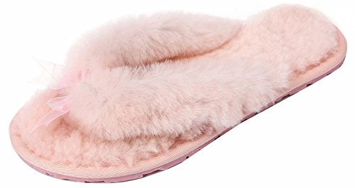 U-lite Womens Hiver Chaud Confortable Shearling Plat Tongs Maison Pantoufle, Chaud Pantoufles De Laine Pour Les Femmes Rose