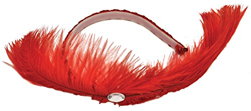 Dance Hall Girl Costume (UHC Dance Hall Headpiece w/ Feather Theme Party Headband Costume Accessory, Red)