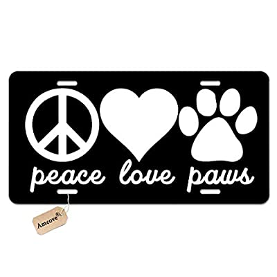Amcove Peace Love Paws Metal License Plate for Cars Dog Cat Paw Animal Love Peace Novelty Vanity License Plate Tag Sign,6 X 12 Inch: Automotive