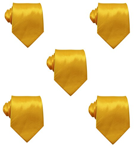 Mens Solid Satin 3.9 Inch Wide Formal Necktie Pack 5 For Wedding By JAIFEI - Handkerchief Color Gold Necktie