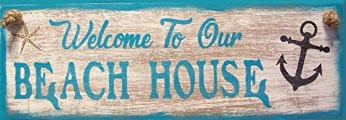 Iliogine Wooden Home Sign Welcome to Our Beach House Nautical Anchor Starfish Costal Beach Primitive Rustic Wall Cabin Decor Hanging Door Sign Plaque Gift