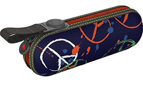 Knirps X1 811 Taschenschirm marineblau Peace (Blau / Orange / Gelb) LCn8E