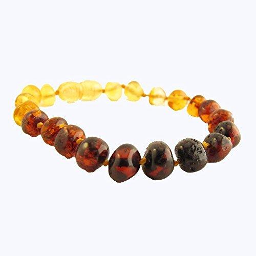 The Amber Monkey Genuine Baltic Amber Bracelet, Anti-Inflammatory, Arthritis And Muscle Pain Relief, Rainbow Baroque (Bracelet Shape Amber)