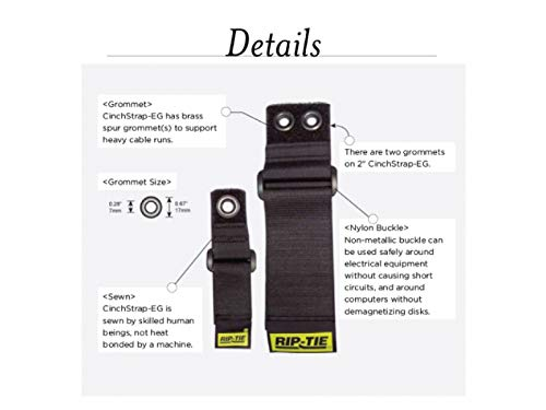 Rip Tie Cinch Strap EG Cable Straps, BLACK (10, 10'' Long X 1'' Wide) by DURALINE (Image #2)