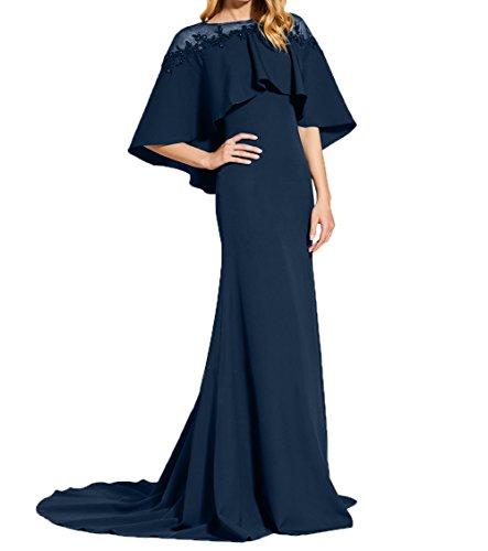 Charmant Damen Brautmutterkleider Blau Navy Lang Durchsichtig Trumpet Schulter Meerjungfrau Abendkleider Festlichkleider rrnaFBqdHW