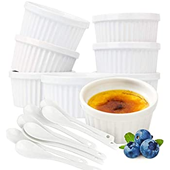 Souffle Dish Ramekins for Baking - 6 Ounce (Set of 8, White with 8 Extra Spoons) 6 Oz, 3.5-inch Ceramic Oven Safe Round Bowl for Creme Brulee Desserts Puddings Custard Cups Ice Cream Lava Cake Snacks